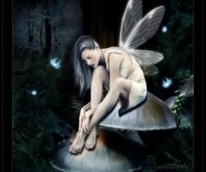Fairy sitting on a mushroom puzzle