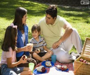 Family in a picnic in the park puzzle