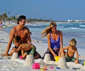 Family on the beach puzzle