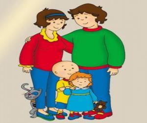 Family Portrait of Caillou, his little sister Rosie, his father Boris, his mother Doris and Gilbert the cat puzzle