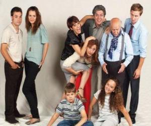 Family portrait with grandparents, parents and grandchildren puzzle
