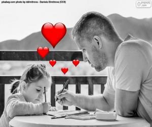 Father painting with his daughter puzzle