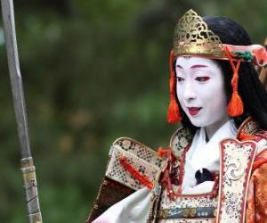 Female samurai, warrior woman with katana puzzle