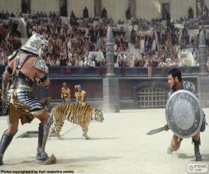 Fight between two gladiators in the amphitheater puzzle
