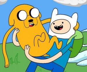 Finn and Jake, the main protagonists of AdventureTime puzzle