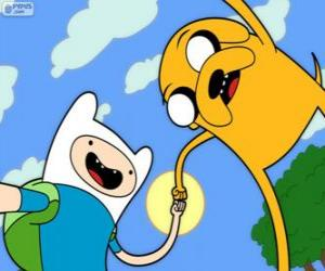 Finn and Jake, two great friends from Adventure Time puzzle