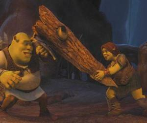 Fiona, the warrior, along with Shrek puzzle
