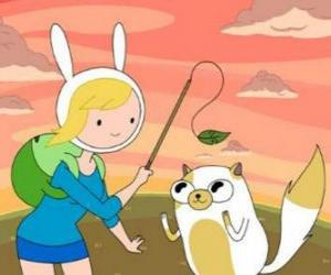 Fionna and Cake, two of the characters from Adventure Time puzzle
