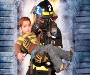 Firefighter holding a child in arms puzzle
