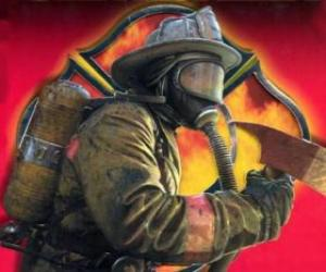Firefighter leaving a building with the axe or ax in hand puzzle