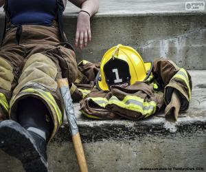 Firefighter resting puzzle
