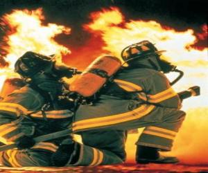 Firefighter with a knee on the floor and hose ready puzzle