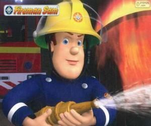 Fireman Sam with the hose puzzle