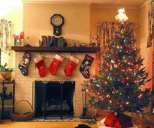 Fireplace in Christmas with the hung socks and with Christmas decorations puzzle