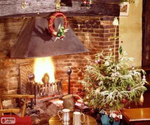 Fireplace rustic decorated for Christmas puzzle