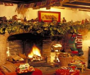 Fireplace with the fire lit and the Christmas decorations puzzle