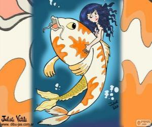 Fish and Mermaid, a drawing of Juliet puzzle