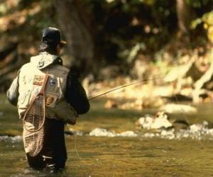 Fisherman in river action puzzle
