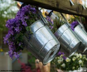 Flowers in pots metal puzzle