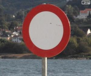 Forbidden circulation traffic sign puzzle