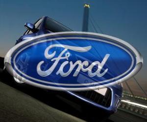 Ford logo. USA car brand puzzle