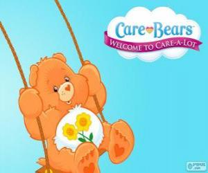 Friend Bear, the Care Bear which has two flowers over the belly puzzle