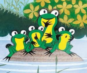 Frogs on a stone in the water puzzle