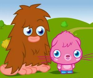 Furi and Poppet, two funny monsters from Moshi Monsters puzzle