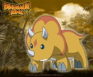 Gabu, Chomp, the Team-D strongest dinosaur, the triceratops from Dinosaur King puzzle