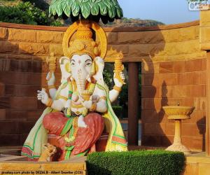 Ganesha, Ganesa or Ganesh, the god of wisdom and literature puzzle