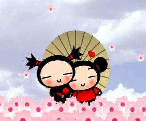 Garu and Pucca under an umbrella puzzle