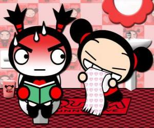 Garu in the toilet flushed by the presence of Pucca puzzle