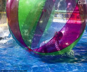 Girl on a ball of water puzzle