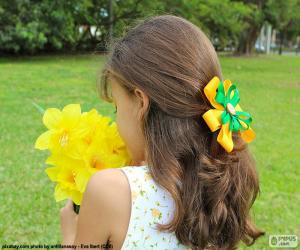Girl with flowers puzzle