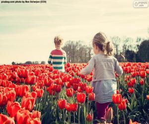Girls between tulips puzzle