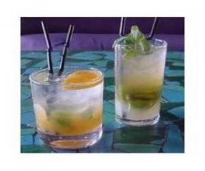 Glass of lemonade or lemon soda ready to drink puzzle