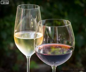 Glass of white and red wine puzzle