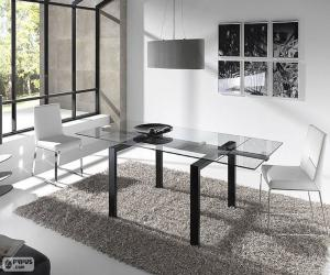 Glass rectangular table puzzle