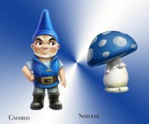 Gnomeo is a handsome and proud Blue Garden Gnome, along with his loyal and faithful companion plaster Mushroom Shroom puzzle