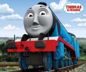 Gordon, the blue engine with number 4, the express train puzzle