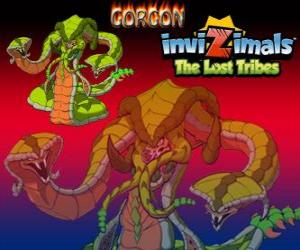 Gorgon. Invizimals The Lost Tribes. Legendary Monster, powerful snake with three heads puzzle