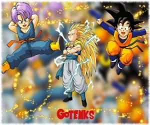 Gotenks, one of the most powerful characters created by the fusion between Son Goten and Trunks puzzle