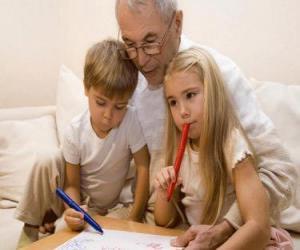 Grandfather with grandchildren puzzle
