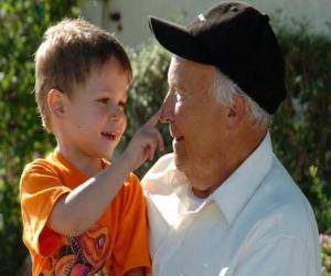 Grandfather with grandson puzzle