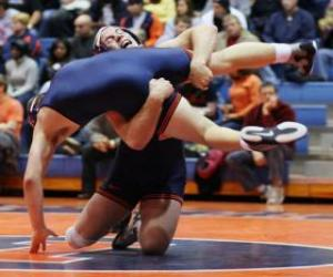 Greco-Roman wrestling combat, two wrestlers on the mat puzzle