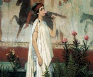 Greek woman or lady with her tunic or chiton puzzle