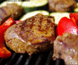 Grilled rib-eye steak puzzle
