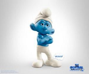 Grouchy Smurf is the antisocial, grumpy people of the Smurfs - The Smurfs Movie - puzzle