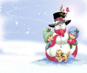 Group of children playing and a dog to make a snowman puzzle
