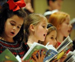 Group of children singing carols puzzle